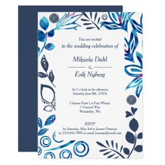Scandinavian Floral Pattern, Blue and Gray Invitation