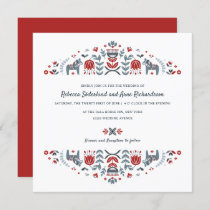 Scandinavian Folk Art Dala Horse Flower Wedding Invitation
