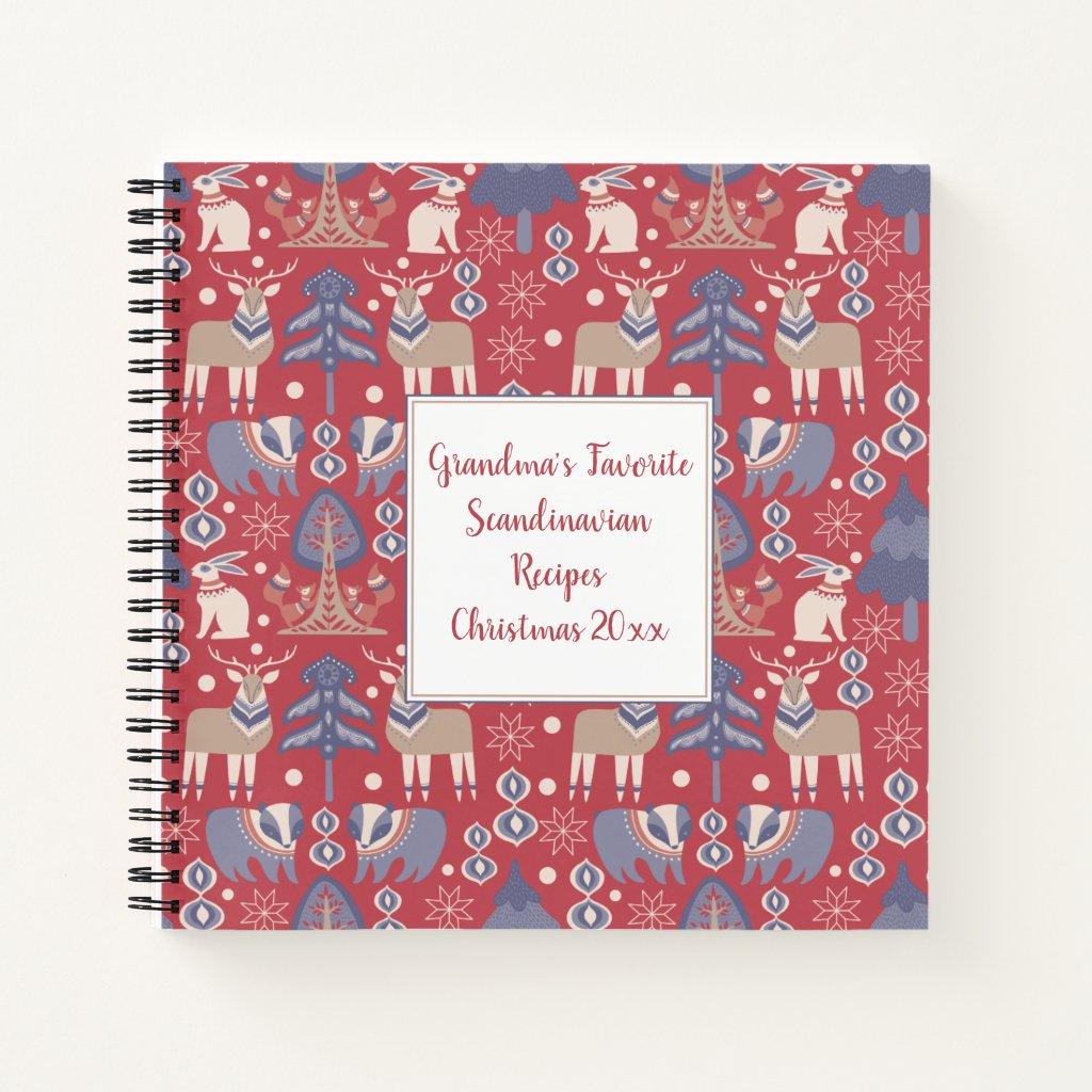 Scandinavian Folk Art Square Recipe Book |