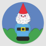 Scandinavian Gnome in the Grass Classic Round Sticker