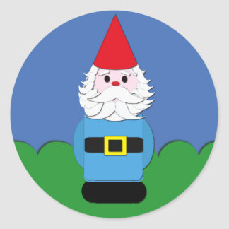 Scandinavian Gnome in the Grass Round Stickers