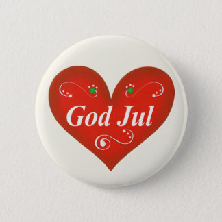 Scandinavian God Jul Christmas Heart Button