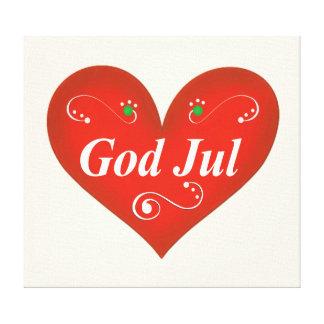 Scandinavian God Jul Christmas Heart Canvas Print