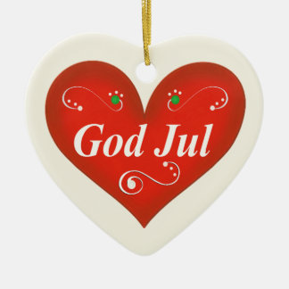 Scandinavian God Jul Christmas Heart Ceramic Ornament