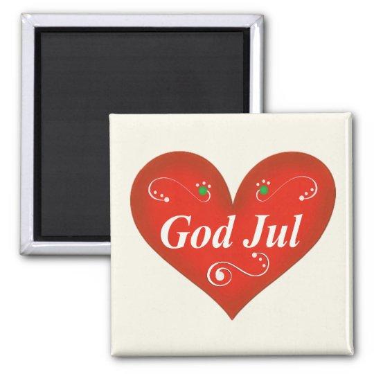 Scandinavian God Jul Christmas Heart Magnet