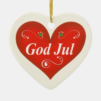 Scandinavian God Jul Christmas Heart Christmas Tree Ornament