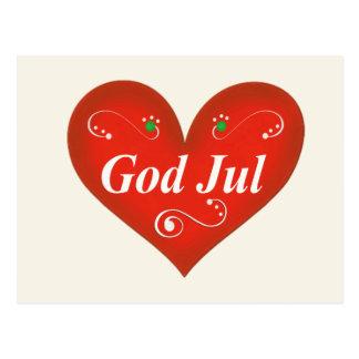 Scandinavian God Jul Christmas Heart Postcard