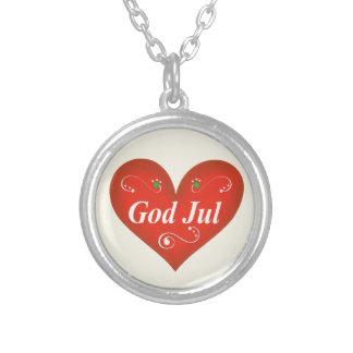 Scandinavian God Jul Christmas Heart Round Pendant Necklace