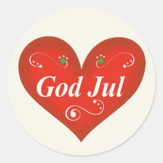 Scandinavian God Jul Christmas Heart Classic Round Sticker