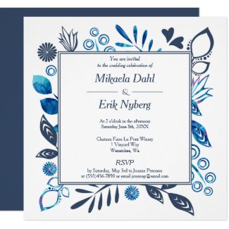 Scandinavian Gray and Blue Floral Pattern Invitation