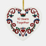Scandinavian Heart 10 Years Together Anniversary Christmas Ornaments