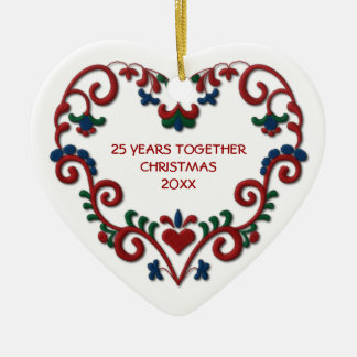 Scandinavian Heart 25 Years Together Photo Christmas Ornaments