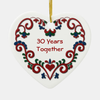 Scandinavian Heart 30 Years Together Double-Sided Heart Ceramic Christmas Ornament