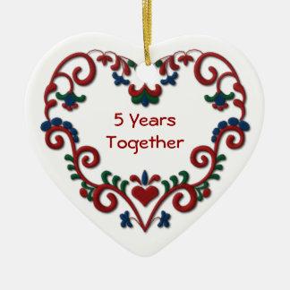 Scandinavian Heart 5 Years Together Anniversary Ceramic Ornament