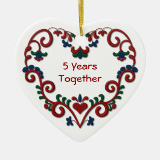 Scandinavian Heart 5 Years Together Ceramic Ornament