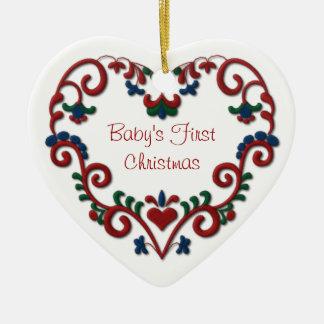 Scandinavian Heart Babys First Christmas Ornaments