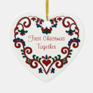 Scandinavian Heart First Christmas Together Ceramic Ornament