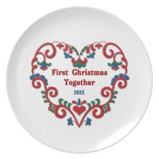 Scandinavian Heart First Christmas Together Custom Melamine Plate