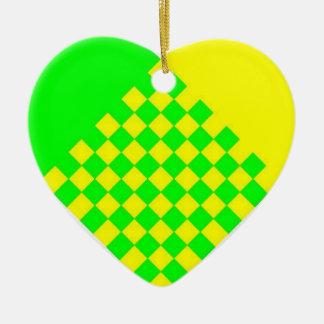 scandinavian heart ornament yellow/lt green