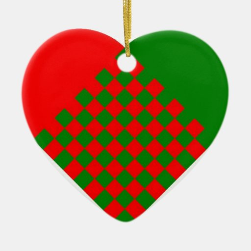Scandinavian Heart red/green Double-Sided Heart Ceramic Christmas Ornament