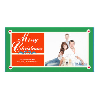 Scandinavian Hearts Personalized Picture Christmas Card