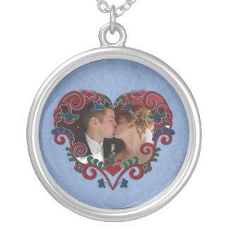 Scandinavian Love Heart Custom Photo Round Pendant Necklace