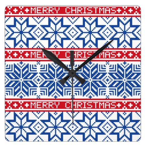 Scandinavian Merry Christmas Square Wall Clock