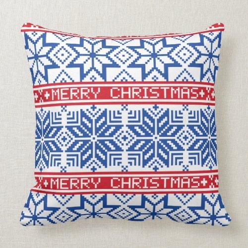 Scandinavian Merry Christmas Throw Pillow
