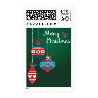 Scandinavian Ornaments Merry Christmas Postage