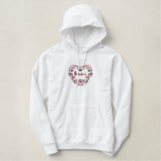 Scandinavian Rosemaling Heart Grandma Embroidered Hoodie