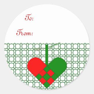Scandinavian Straw Basket  Gift Tag Classic Round Sticker