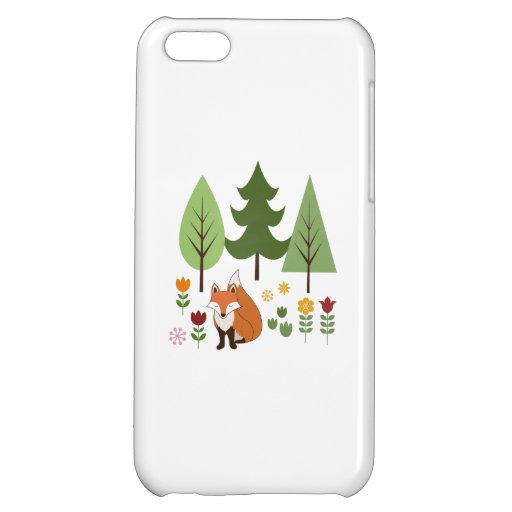 Scandinavian Style Fox Flowers Trees Illustration Case For iPhone 5C
