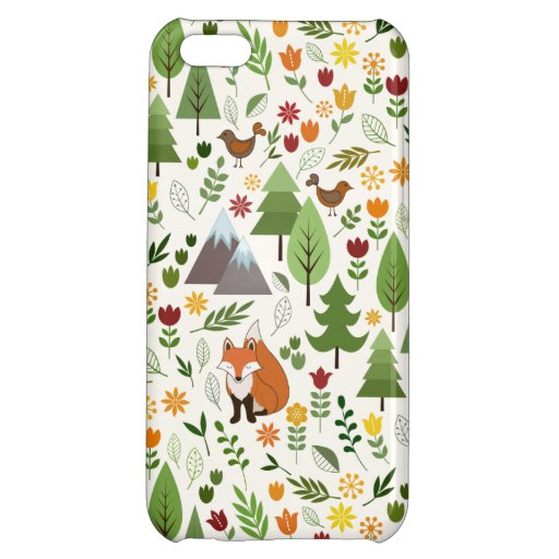 Scandinavian Style Illustrations on Cream Pattern Case For iPhone 5C