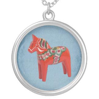 Scandinavian Swedish Dala Horse on Blue Round Pendant Necklace