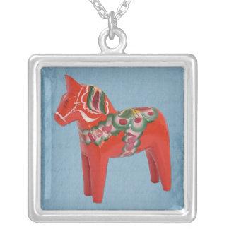 Scandinavian Swedish Dala Horse on Blue Square Pendant Necklace