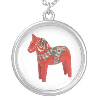 Scandinavian Swedish Dala Horse Round Pendant Necklace