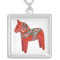 Scandinavian Swedish Dala Horse Silver Plated Necklace