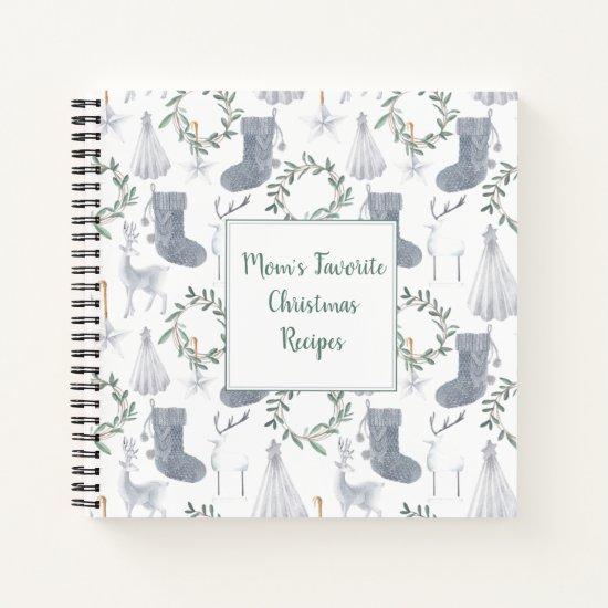 Scandinavian Theme Christmas Square Recipe Book |