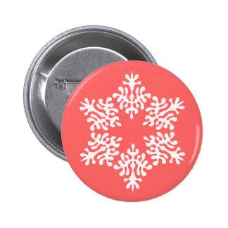 Scandinavian White Christmas Snowflake Pinback Button