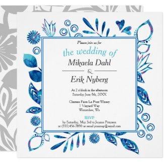 Scandinavian Winter Blue Floral Pattern Invitation