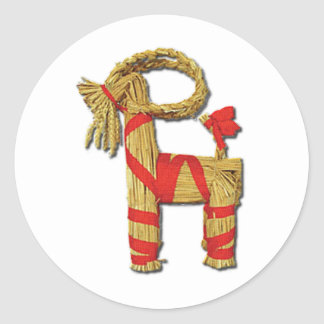 Scandinavian Yule Goat Classic Round Sticker