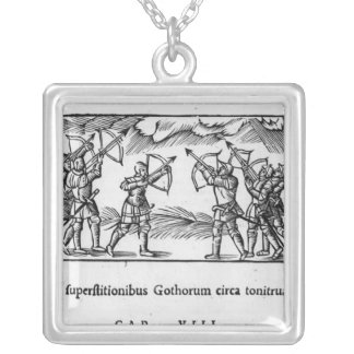 Scandinavians using their arrows square pendant necklace