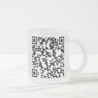 Scannable QR Bar code Frosted Glass Coffee Mug