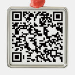 Scannable QR Bar code Square Metal Christmas Ornament