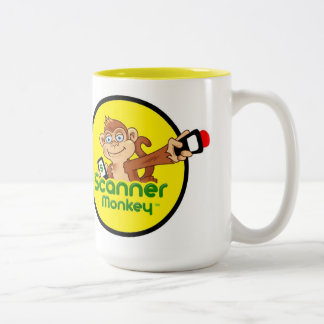 Scanner Monkey Coffee Mug 15 oz - White & Yellow