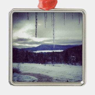 Scape de la nieve de la montaña ornaments para arbol de navidad