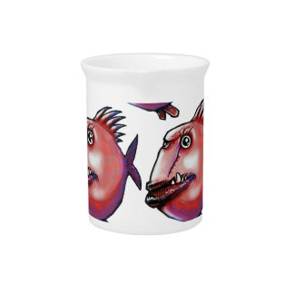 scar face fish tiled pattern red drink pitchers