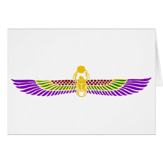 scarab beetle Egyptian card - gold & white