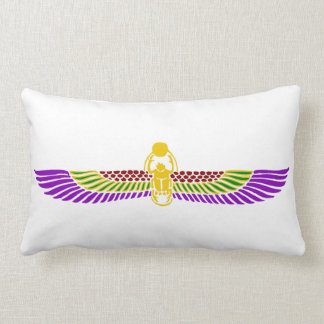 scarab beetle Egyptian lumbar pillow-gold & white Throw Pillow