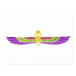 scarab beetle Egyptian postcard - gold & white